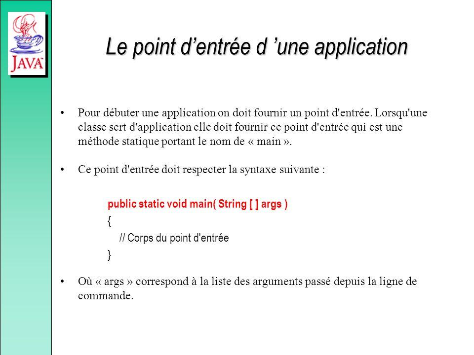 Le point dentrée d une application Pour débuter une application on doit fournir un point d'entrée. Lorsqu'une classe sert d'application elle doit four