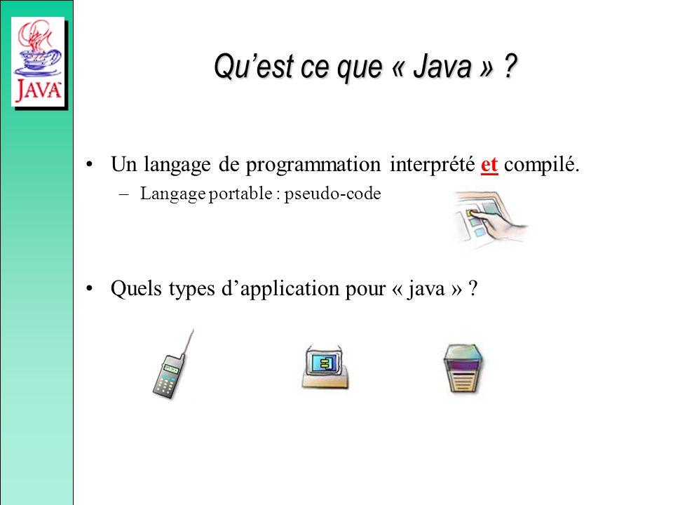 Quest ce que « Java » ? Un langage de programmation interprété et compilé. –Langage portable : pseudo-code Quels types dapplication pour « java » ?