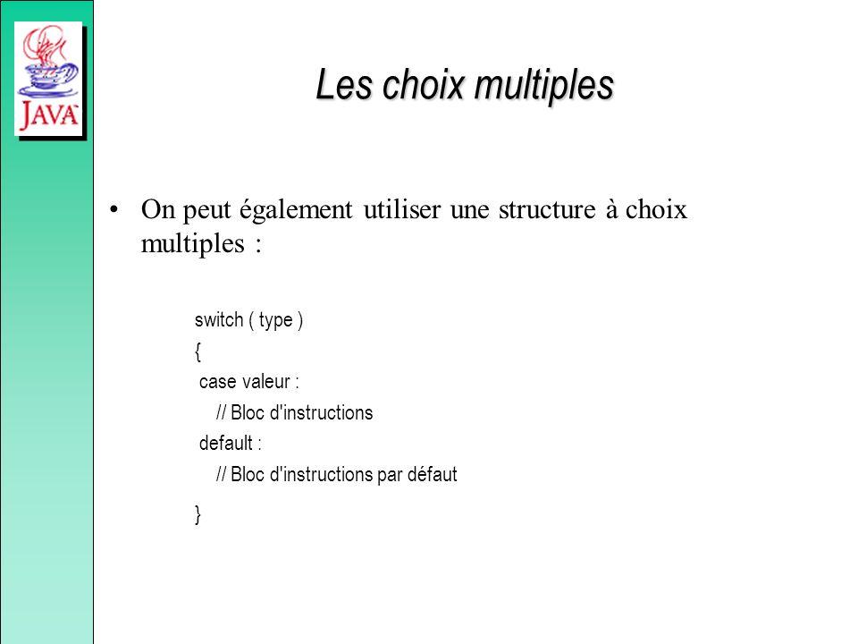 Les choix multiples On peut également utiliser une structure à choix multiples : switch ( type ) { case valeur : // Bloc d'instructions default : // B