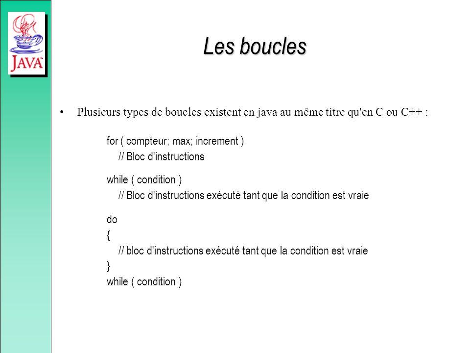 Les boucles Plusieurs types de boucles existent en java au même titre qu'en C ou C++ : for ( compteur; max; increment ) // Bloc d'instructions while (