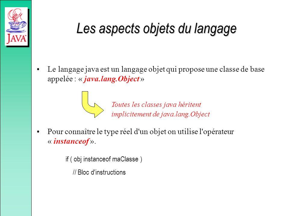 Les aspects objets du langage Le langage java est un langage objet qui propose une classe de base appelée : « java.lang.Object » Pour connaître le typ