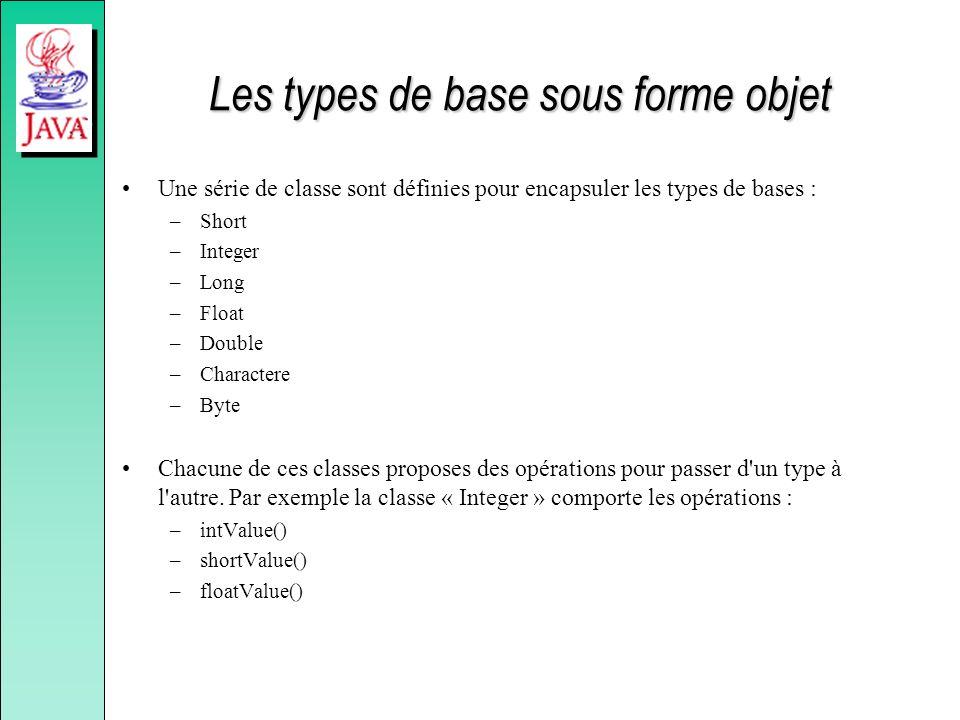 Les types de base sous forme objet Une série de classe sont définies pour encapsuler les types de bases : –Short –Integer –Long –Float –Double –Charac