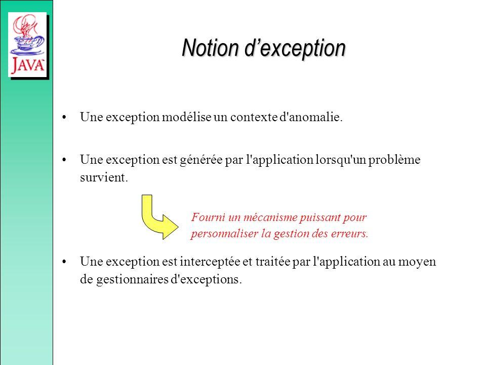 Notion dexception Une exception modélise un contexte d'anomalie. Une exception est générée par l'application lorsqu'un problème survient. Une exceptio