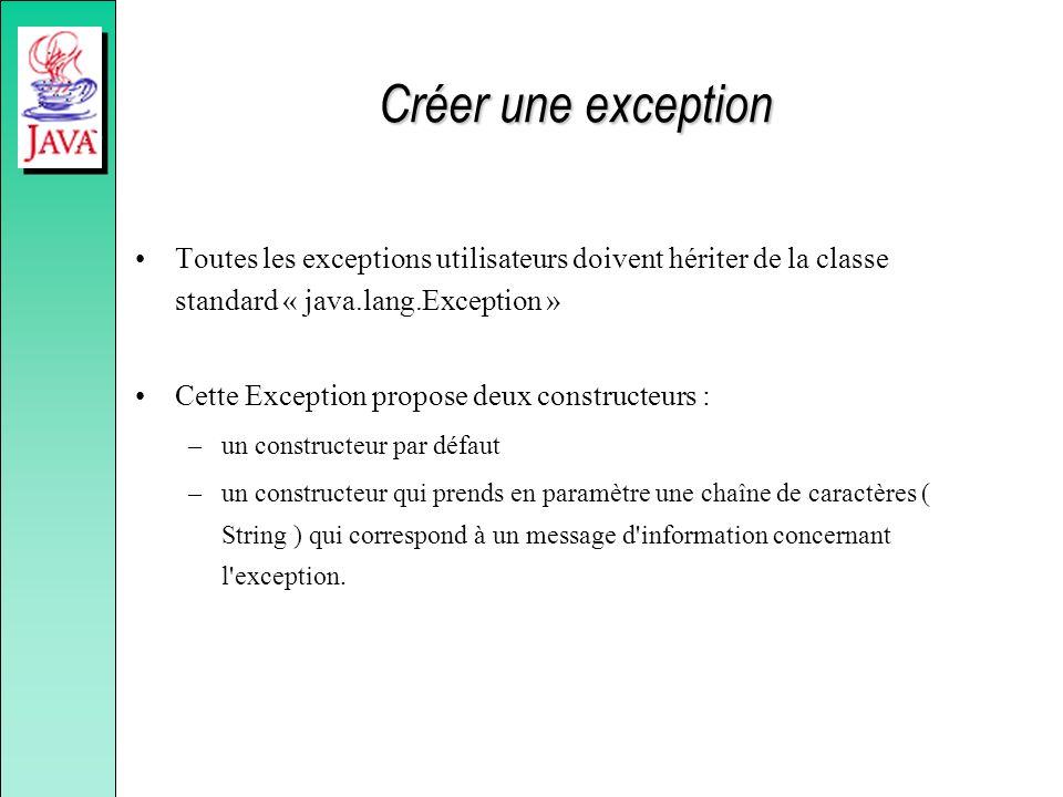 Créer une exception Toutes les exceptions utilisateurs doivent hériter de la classe standard « java.lang.Exception » Cette Exception propose deux cons