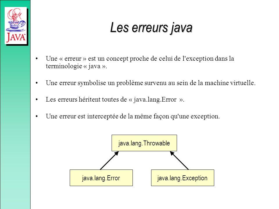 Les erreurs java Une « erreur » est un concept proche de celui de l'exception dans la terminologie « java ». Une erreur symbolise un problème survenu
