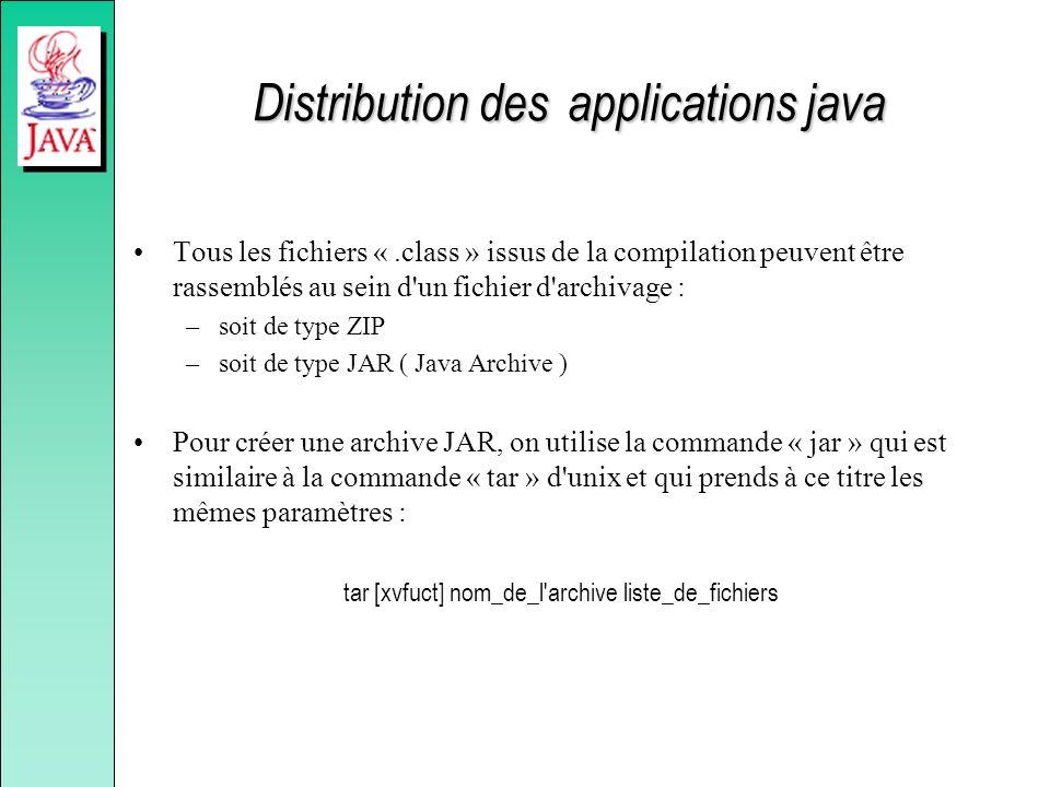 Distribution des applications java Tous les fichiers «.class » issus de la compilation peuvent être rassemblés au sein d'un fichier d'archivage : –soi