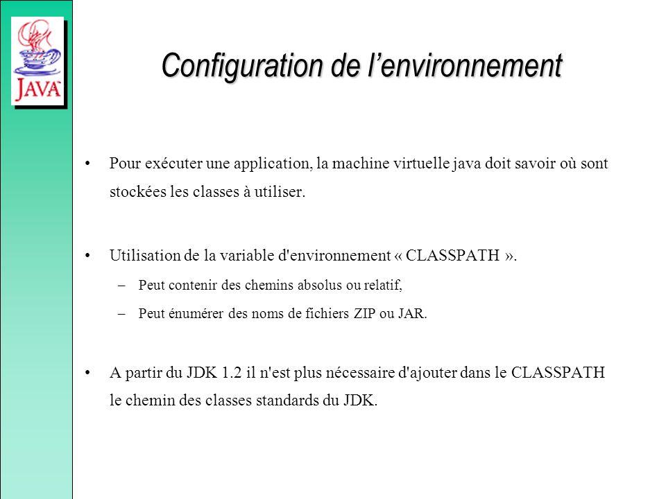 Configuration de lenvironnement Pour exécuter une application, la machine virtuelle java doit savoir où sont stockées les classes à utiliser. Utilisat