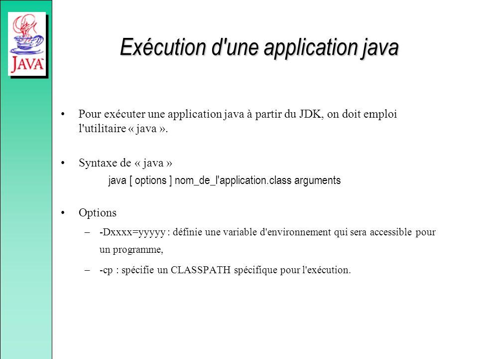Exécution d'une application java Pour exécuter une application java à partir du JDK, on doit emploi l'utilitaire « java ». Syntaxe de « java » java [