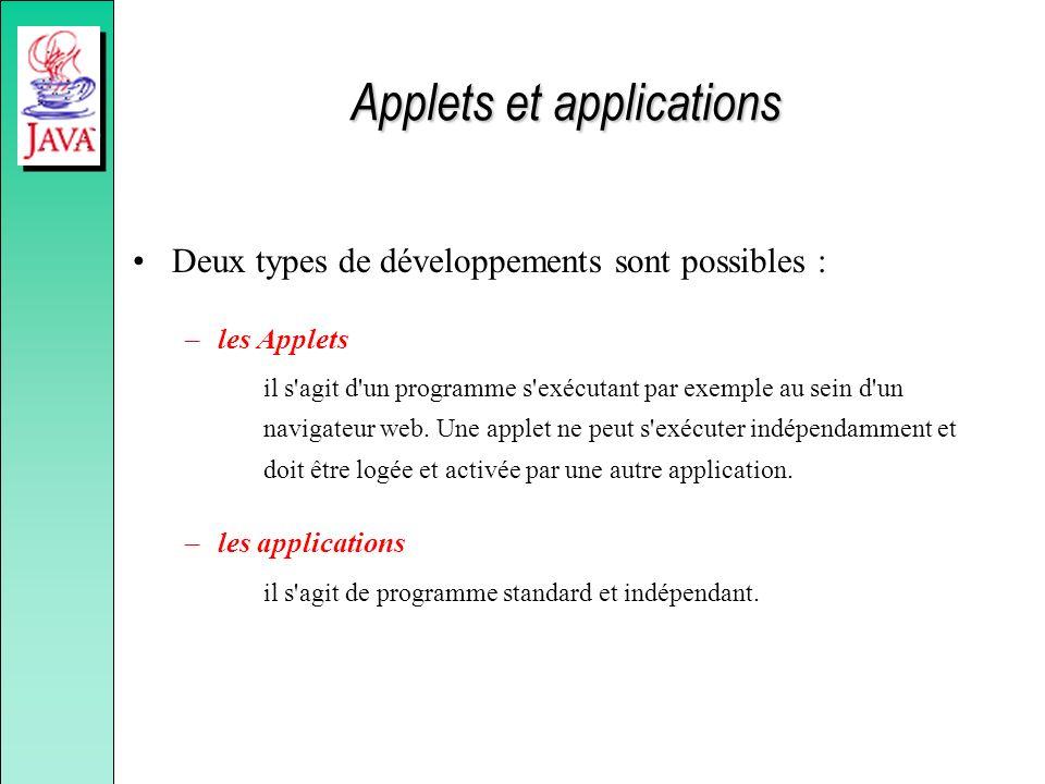 Applets et applications Deux types de développements sont possibles : –les Applets il s'agit d'un programme s'exécutant par exemple au sein d'un navig