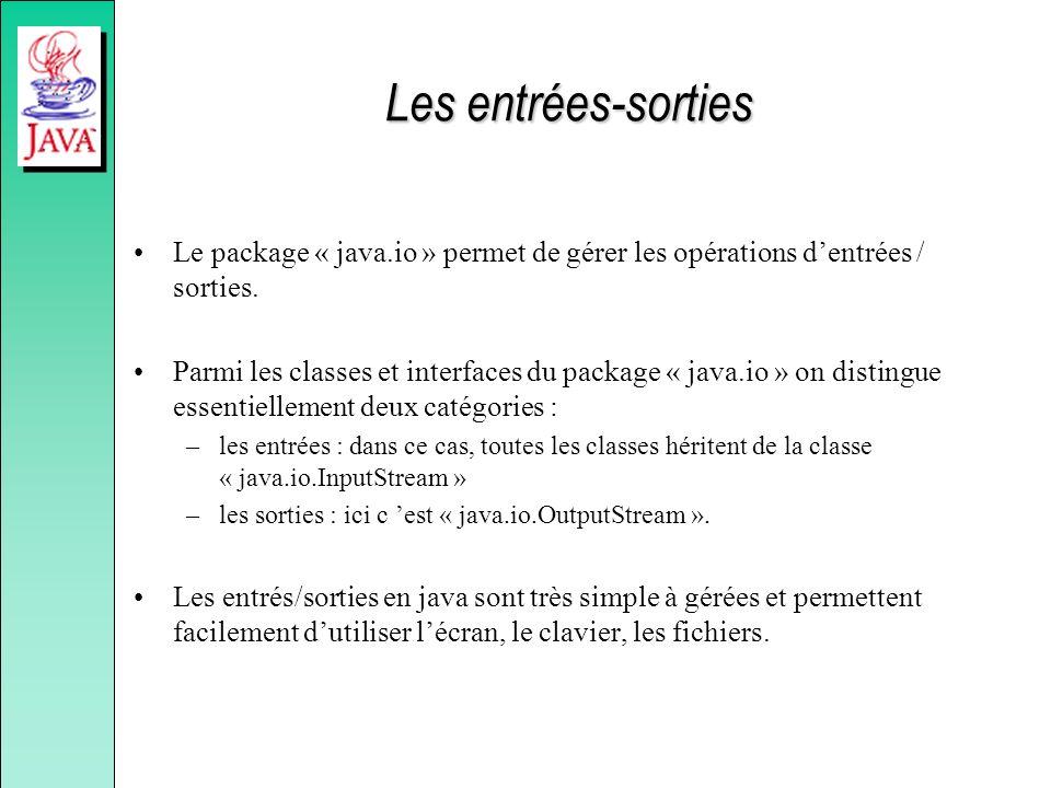 Les entrées-sorties Le package « java.io » permet de gérer les opérations dentrées / sorties. Parmi les classes et interfaces du package « java.io » o