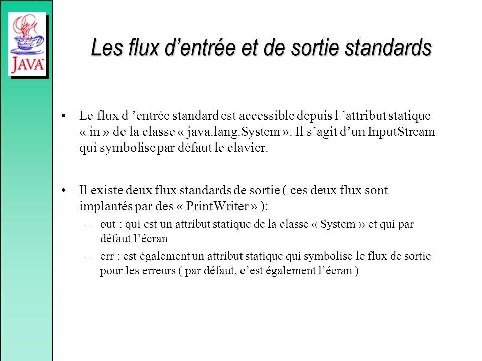 Les flux dentrée et de sortie standards Le flux d entrée standard est accessible depuis l attribut statique « in » de la classe « java.lang.System ».