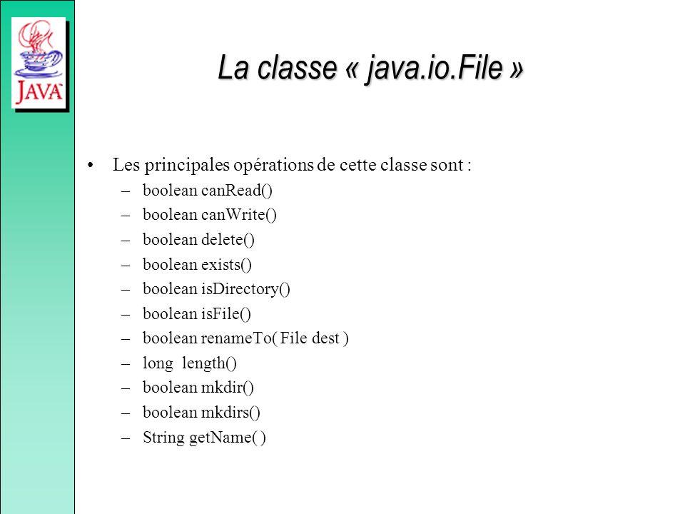 La classe « java.io.File » Les principales opérations de cette classe sont : –boolean canRead() –boolean canWrite() –boolean delete() –boolean exists(