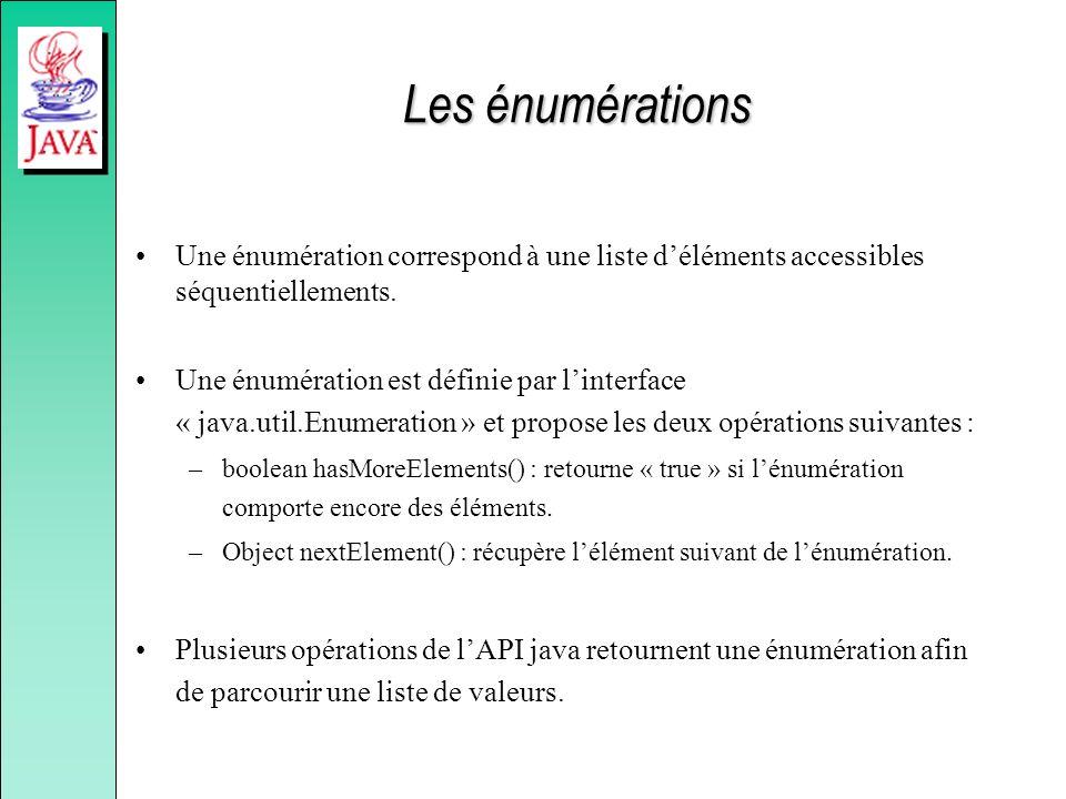 Les énumérations Une énumération correspond à une liste déléments accessibles séquentiellements. Une énumération est définie par linterface « java.uti