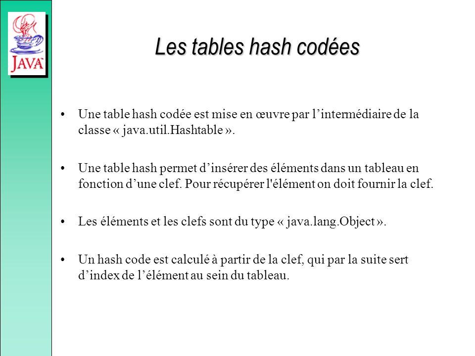 Les tables hash codées Une table hash codée est mise en œuvre par lintermédiaire de la classe « java.util.Hashtable ». Une table hash permet dinsérer