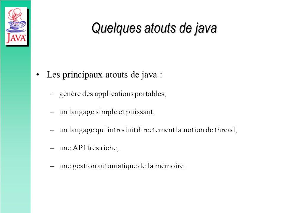 Quelques atouts de java Les principaux atouts de java : –génère des applications portables, –un langage simple et puissant, –un langage qui introduit