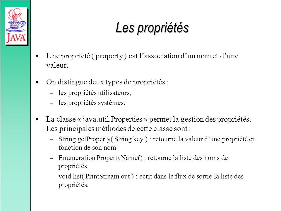 Les propriétés Une propriété ( property ) est lassociation dun nom et dune valeur. On distingue deux types de propriétés : –les propriétés utilisateur