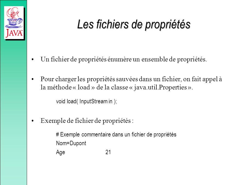 Les fichiers de propriétés Un fichier de propriétés énumère un ensemble de propriétés. Pour charger les propriétés sauvées dans un fichier, on fait ap