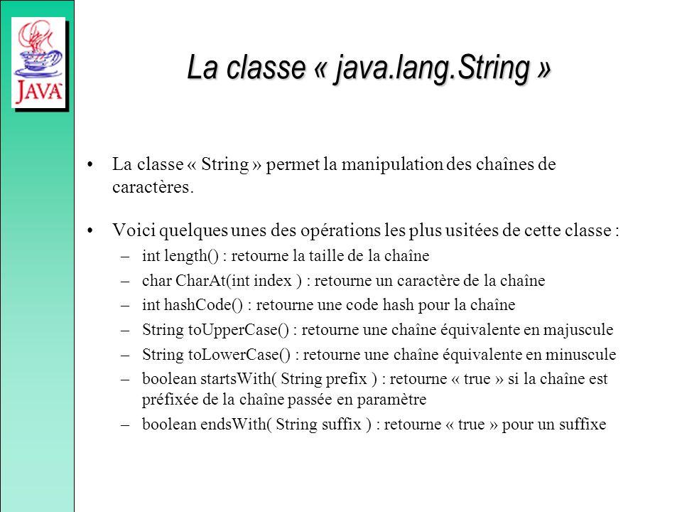 La classe « java.lang.String » La classe « String » permet la manipulation des chaînes de caractères. Voici quelques unes des opérations les plus usit