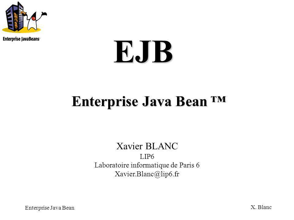 Enterprise Java Bean X. Blanc Enterprise Java Bean Du coté du serveur