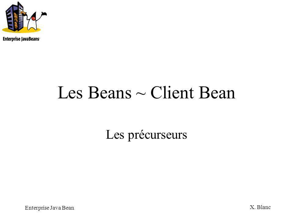Enterprise Java Bean X. Blanc Les Beans ~ Client Bean Les précurseurs