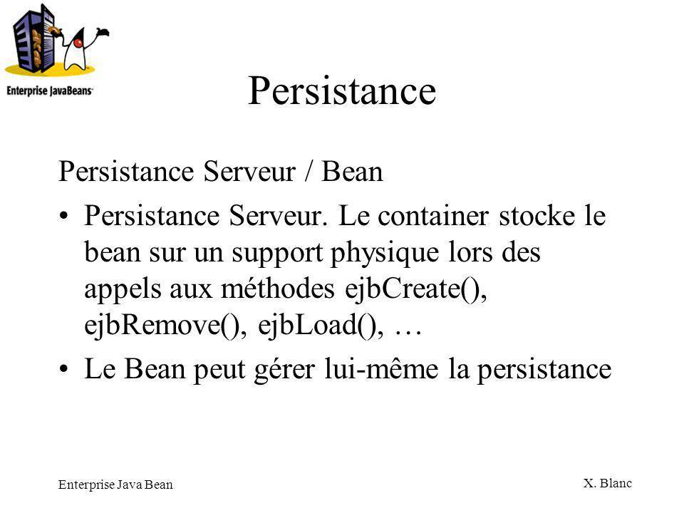 Enterprise Java Bean X. Blanc Persistance Persistance Serveur / Bean Persistance Serveur. Le container stocke le bean sur un support physique lors des
