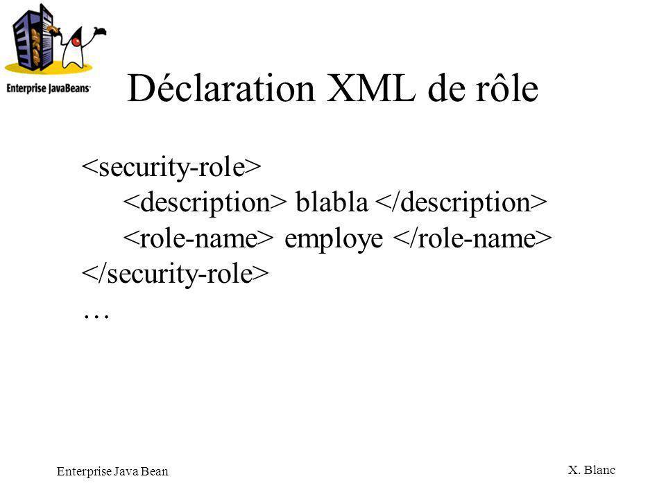 Enterprise Java Bean X. Blanc Déclaration XML de rôle blabla employe …