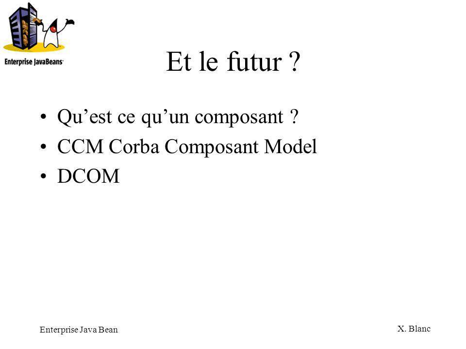 Enterprise Java Bean X. Blanc Et le futur ? Quest ce quun composant ? CCM Corba Composant Model DCOM