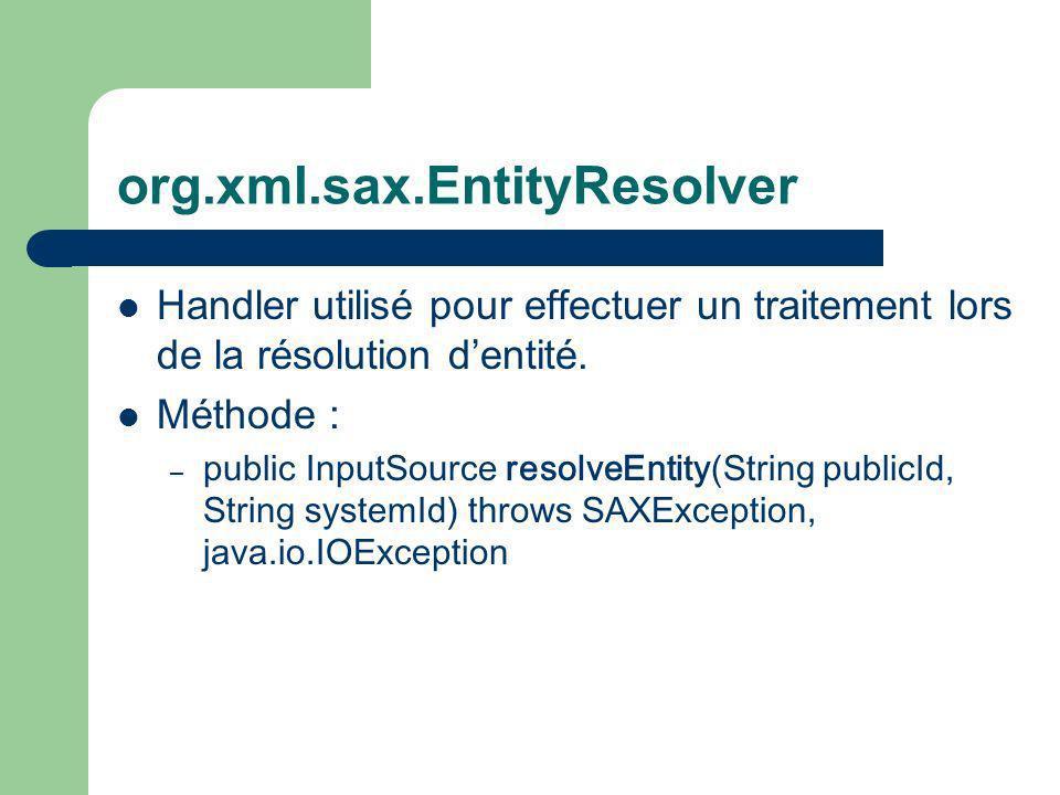 org.xml.sax.EntityResolver Handler utilisé pour effectuer un traitement lors de la résolution dentité.