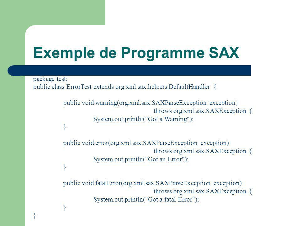 Exemple de Programme SAX package test; public class ErrorTest extends org.xml.sax.helpers.DefaultHandler { public void warning(org.xml.sax.SAXParseException exception) throws org.xml.sax.SAXException { System.out.println( Got a Warning ); } public void error(org.xml.sax.SAXParseException exception) throws org.xml.sax.SAXException { System.out.println( Got an Error ); } public void fatalError(org.xml.sax.SAXParseException exception) throws org.xml.sax.SAXException { System.out.println( Got a fatal Error ); }
