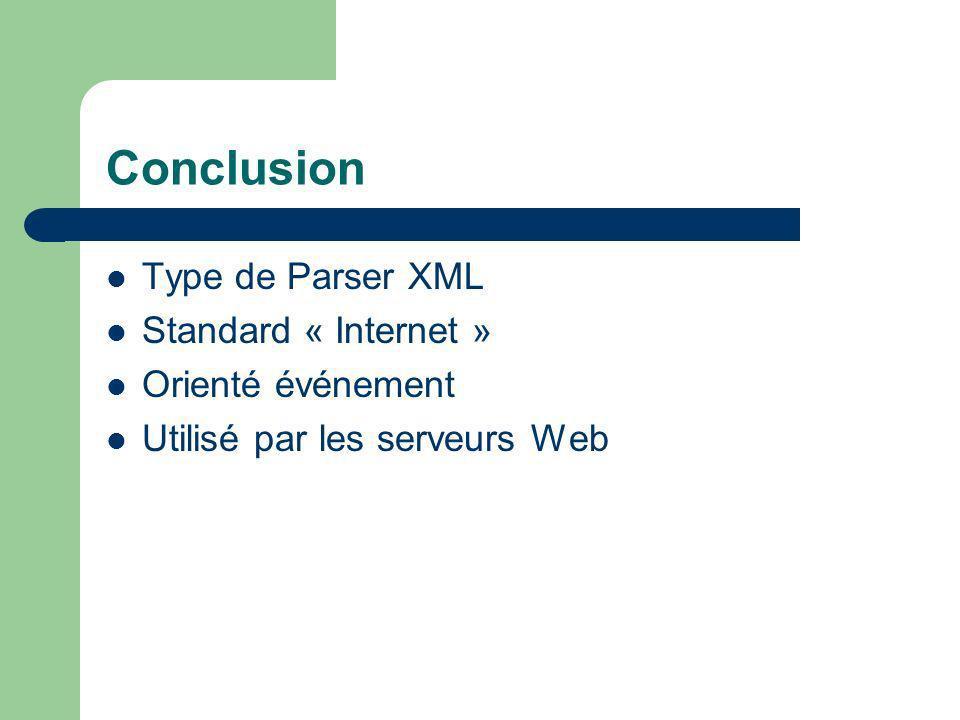 Conclusion Type de Parser XML Standard « Internet » Orienté événement Utilisé par les serveurs Web