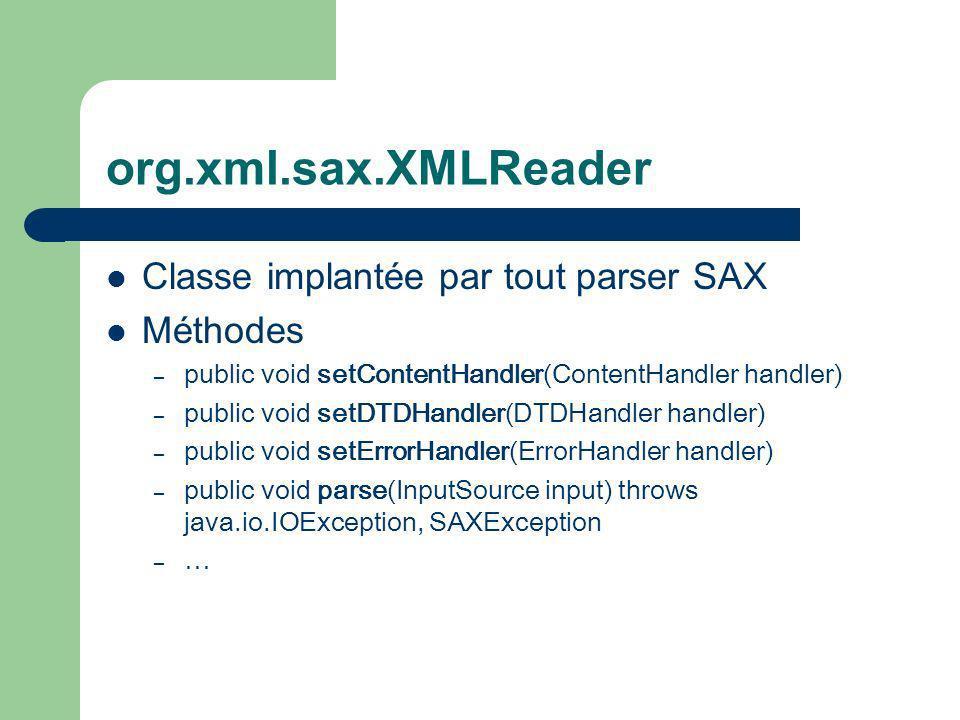 org.xml.sax.XMLReader Classe implantée par tout parser SAX Méthodes – public void setContentHandler(ContentHandler handler) – public void setDTDHandler(DTDHandler handler) – public void setErrorHandler(ErrorHandler handler) – public void parse(InputSource input) throws java.io.IOException, SAXException – …