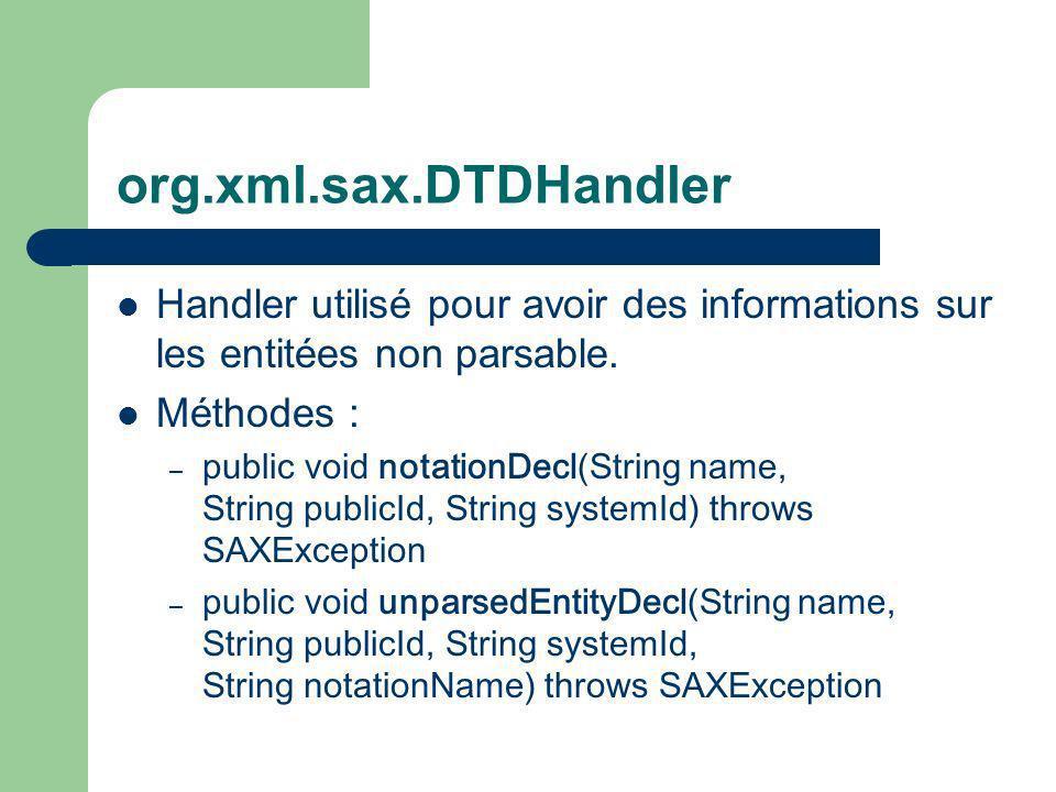 org.xml.sax.DTDHandler Handler utilisé pour avoir des informations sur les entitées non parsable.