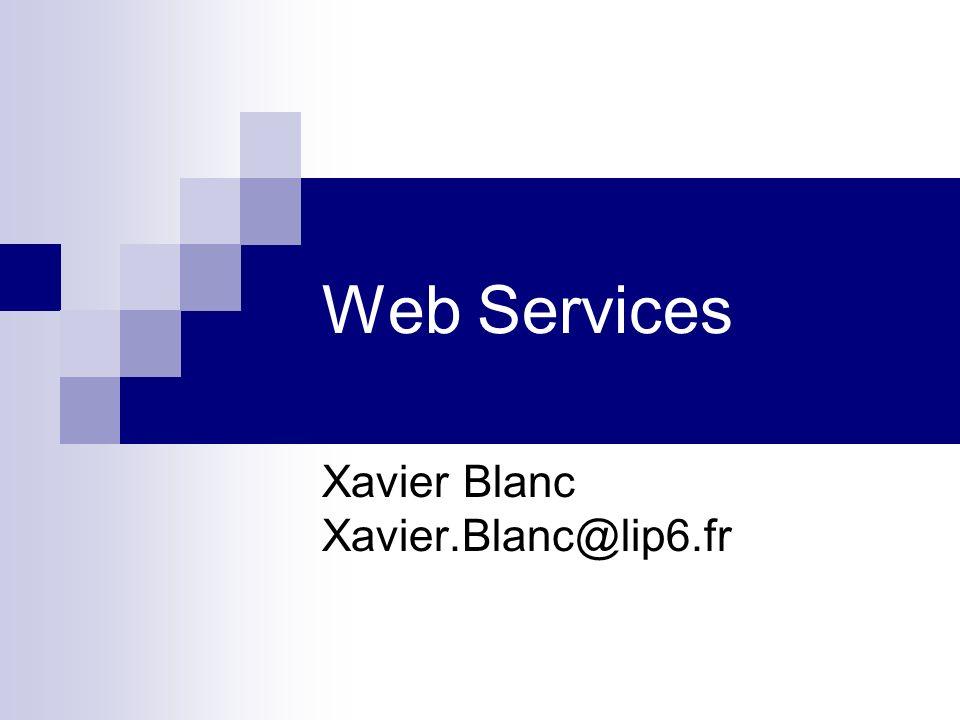 UDDI Référentiel de définitions Web Service Permet de construire dynamiquement des clients Recommandation OASIS Référentiel défini lui-même en WSDL Référentiel Public / Privé
