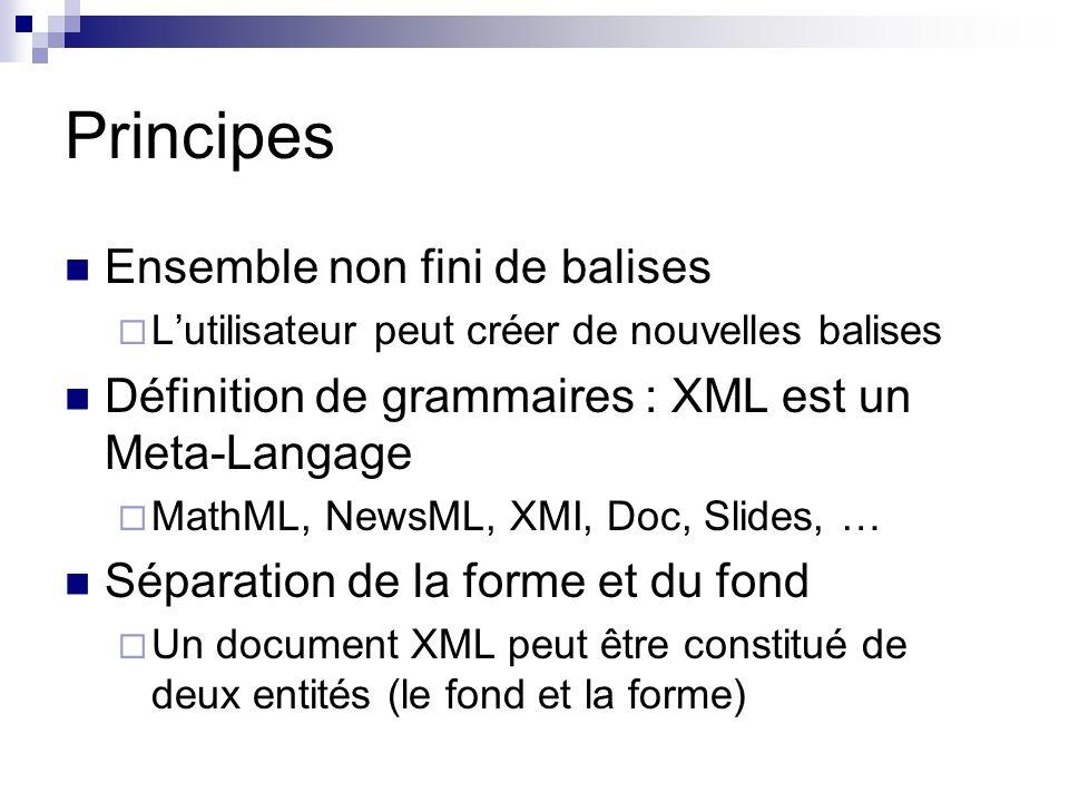 Principes Ensemble non fini de balises Lutilisateur peut créer de nouvelles balises Définition de grammaires : XML est un Meta-Langage MathML, NewsML,
