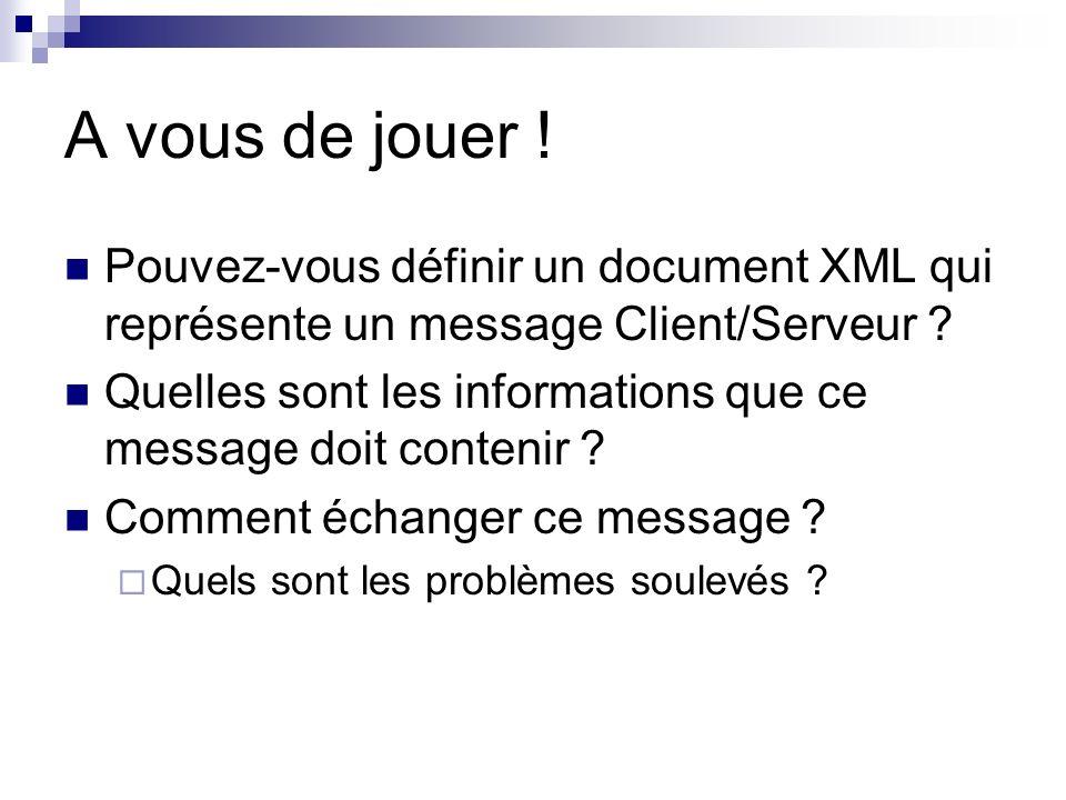 A vous de jouer ! Pouvez-vous définir un document XML qui représente un message Client/Serveur ? Quelles sont les informations que ce message doit con