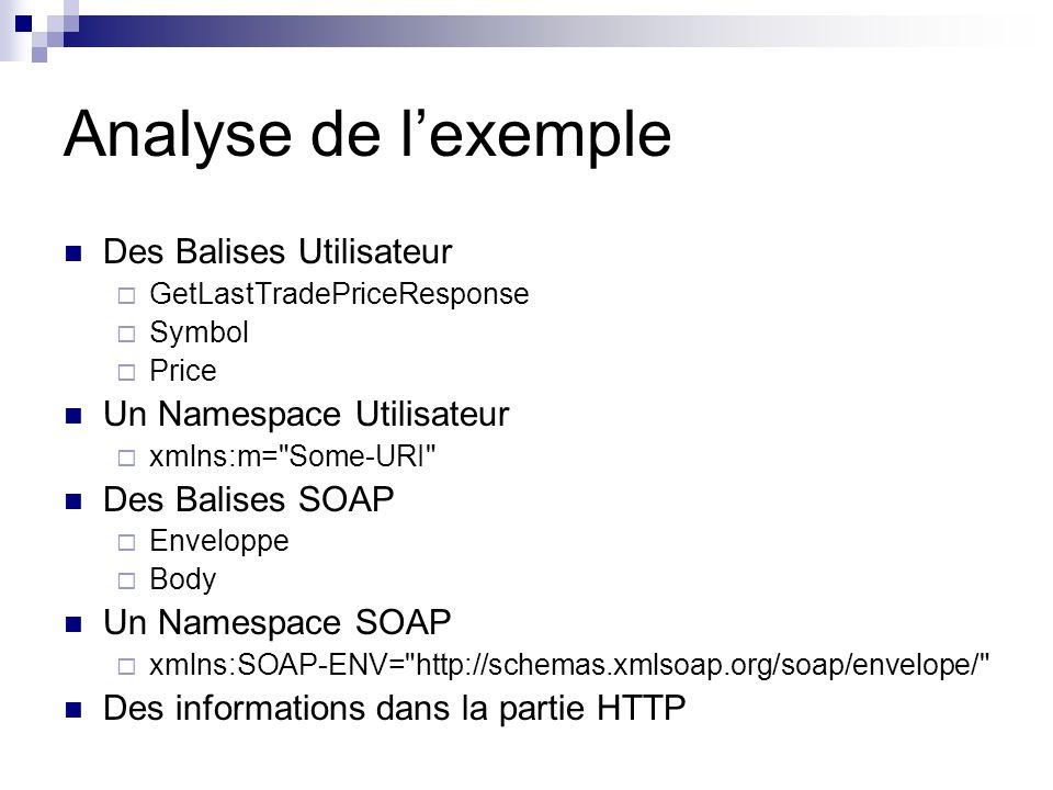 Analyse de lexemple Des Balises Utilisateur GetLastTradePriceResponse Symbol Price Un Namespace Utilisateur xmlns:m=
