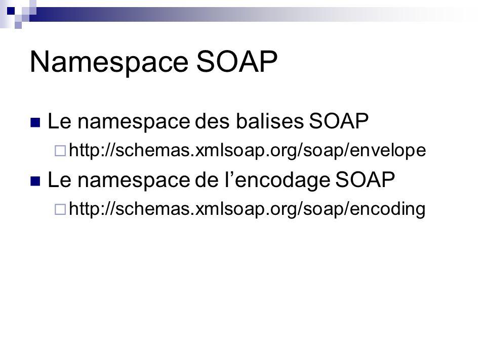 Namespace SOAP Le namespace des balises SOAP http://schemas.xmlsoap.org/soap/envelope Le namespace de lencodage SOAP http://schemas.xmlsoap.org/soap/e