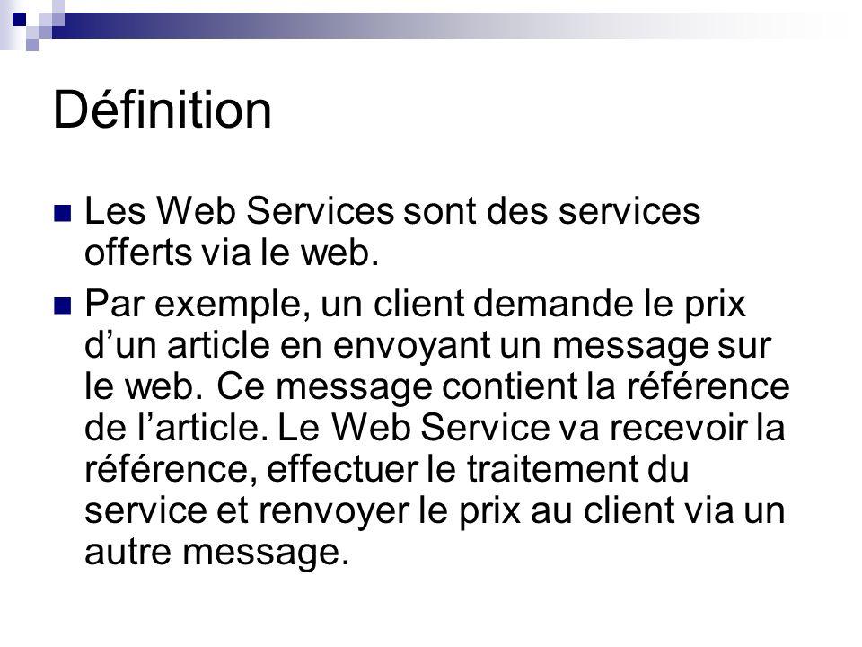 Définition Les Web Services sont des services offerts via le web. Par exemple, un client demande le prix dun article en envoyant un message sur le web