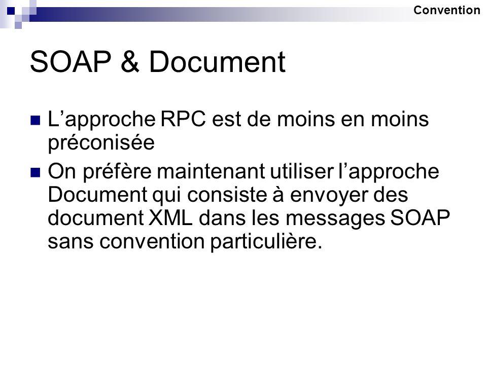 SOAP & Document Lapproche RPC est de moins en moins préconisée On préfère maintenant utiliser lapproche Document qui consiste à envoyer des document X
