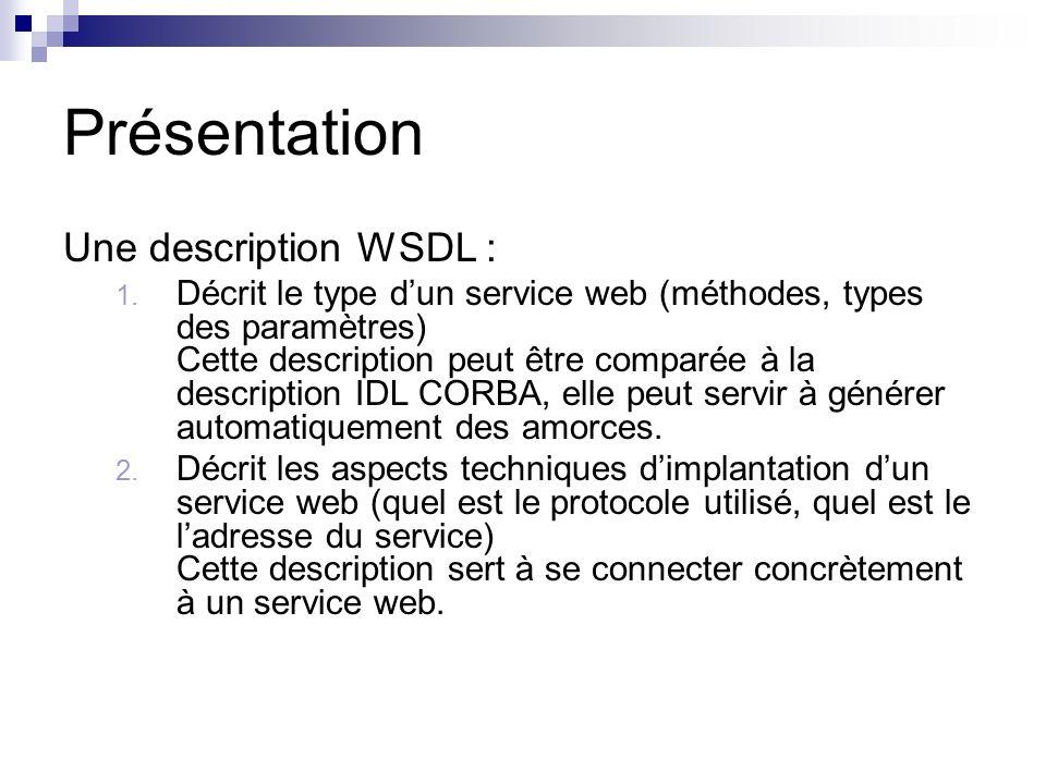 Présentation Une description WSDL : 1. Décrit le type dun service web (méthodes, types des paramètres) Cette description peut être comparée à la descr