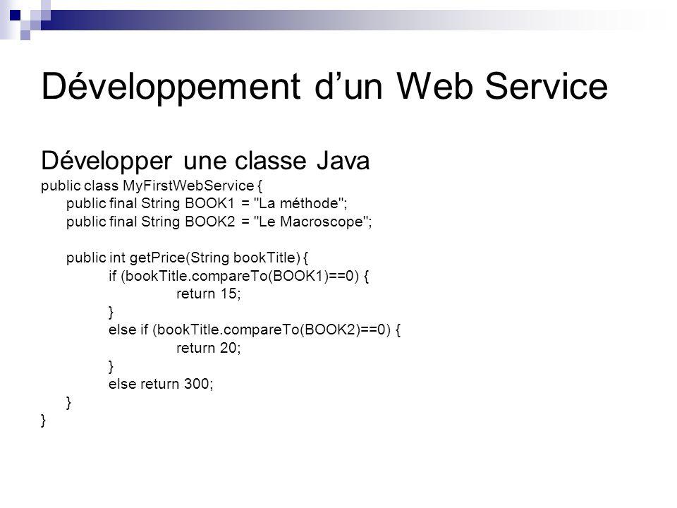 Développement dun Web Service Développer une classe Java public class MyFirstWebService { public final String BOOK1 =