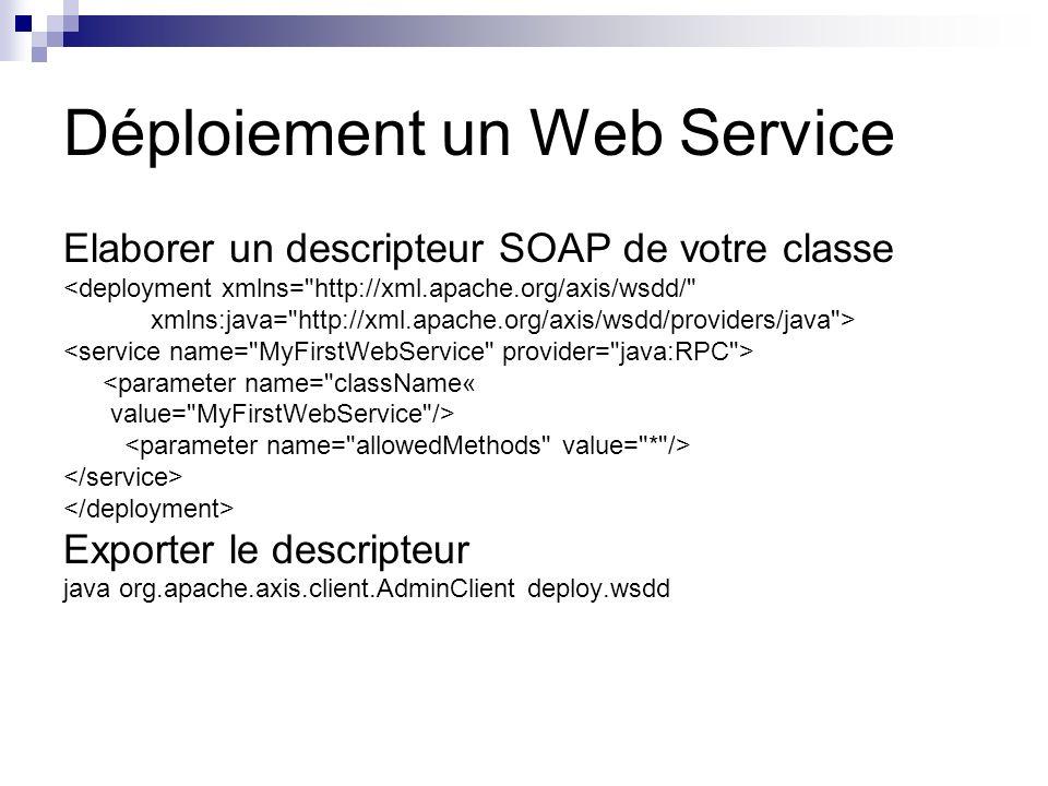 Déploiement un Web Service Elaborer un descripteur SOAP de votre classe <deployment xmlns=