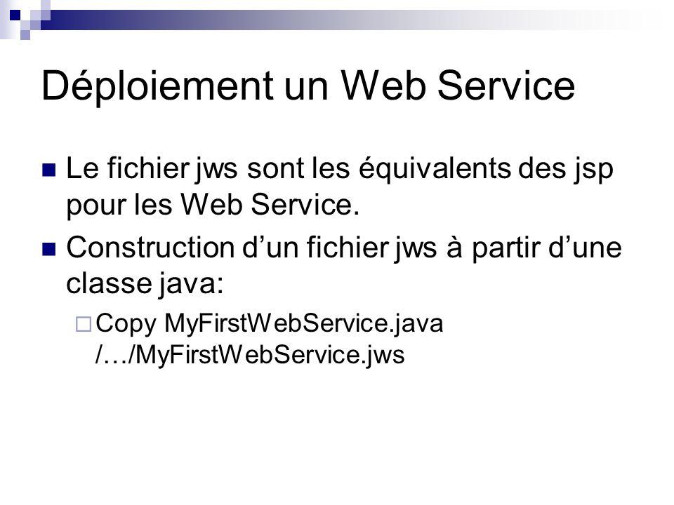 Déploiement un Web Service Le fichier jws sont les équivalents des jsp pour les Web Service. Construction dun fichier jws à partir dune classe java: C