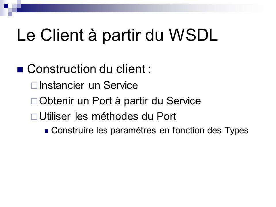 Le Client à partir du WSDL Construction du client : Instancier un Service Obtenir un Port à partir du Service Utiliser les méthodes du Port Construire