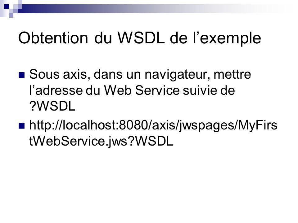 Obtention du WSDL de lexemple Sous axis, dans un navigateur, mettre ladresse du Web Service suivie de ?WSDL http://localhost:8080/axis/jwspages/MyFirs