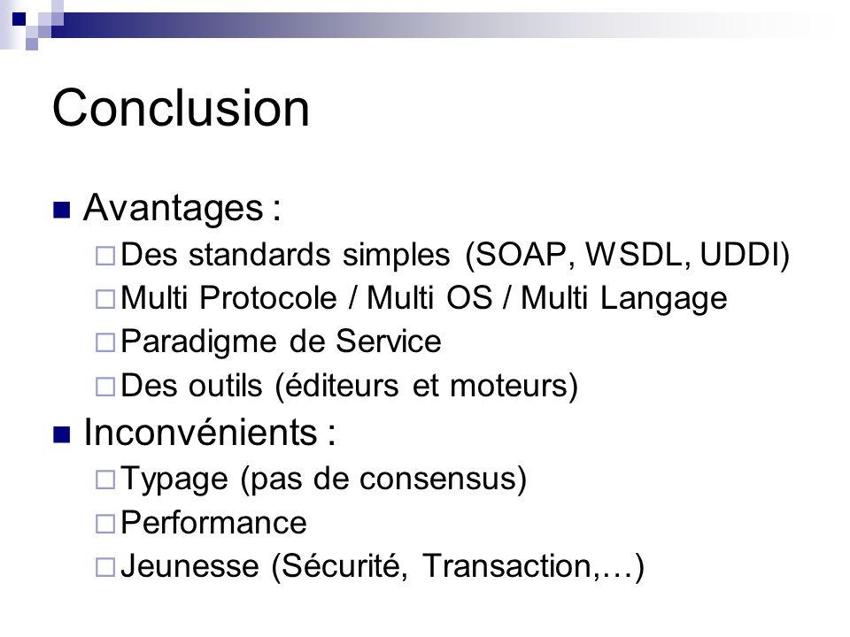 Conclusion Avantages : Des standards simples (SOAP, WSDL, UDDI) Multi Protocole / Multi OS / Multi Langage Paradigme de Service Des outils (éditeurs e