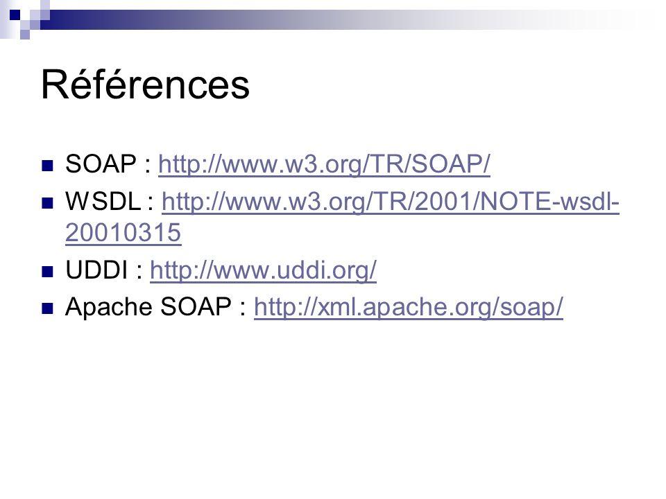 Références SOAP : http://www.w3.org/TR/SOAP/http://www.w3.org/TR/SOAP/ WSDL : http://www.w3.org/TR/2001/NOTE-wsdl- 20010315http://www.w3.org/TR/2001/N