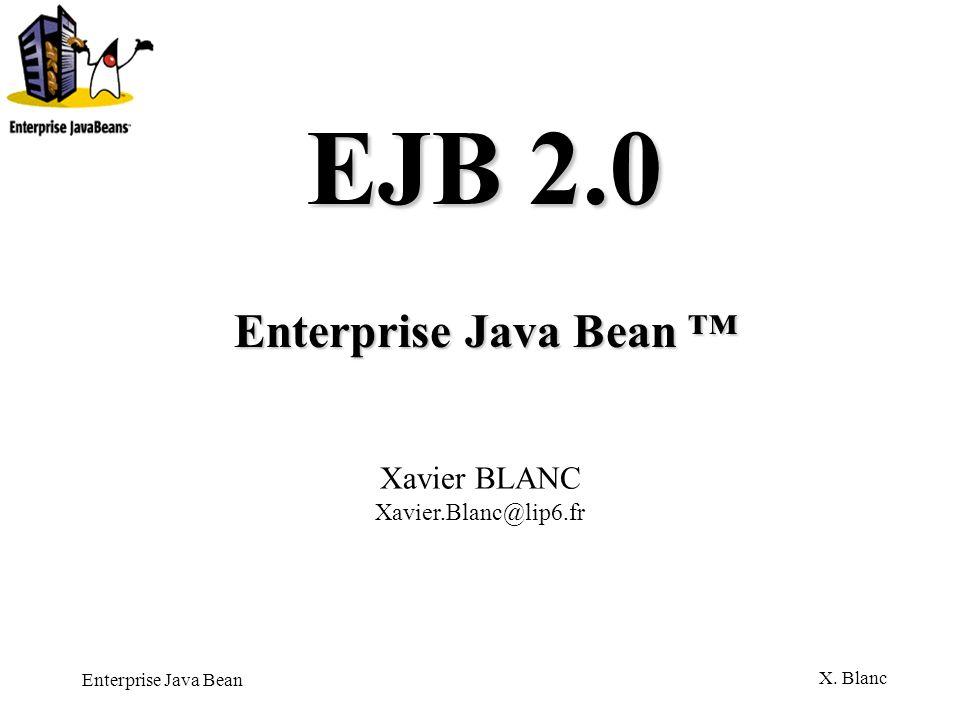 Enterprise Java Bean X.Blanc Component Contract Un Entity Bean est une réification dune donnée.