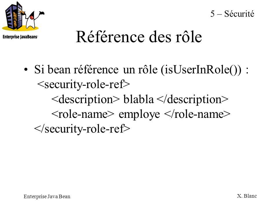 Enterprise Java Bean X. Blanc Référence des rôle Si bean référence un rôle (isUserInRole()) : blabla employe 5 – Sécurité