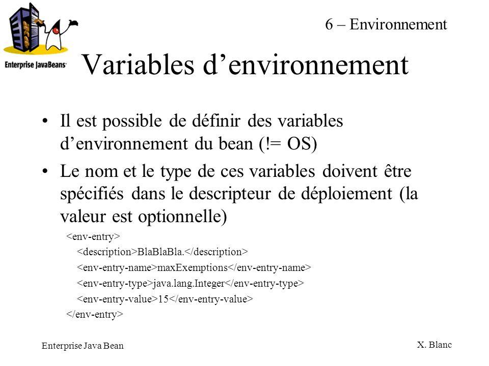 Enterprise Java Bean X. Blanc Variables denvironnement Il est possible de définir des variables denvironnement du bean (!= OS) Le nom et le type de ce
